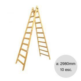 Escalera pintor madera reforzada 10 escalones altura 2980mm