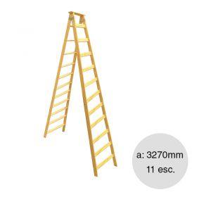 Escalera pintor madera reforzada 11 escalones altura 3270mm