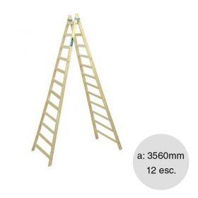 Escalera pintor madera reforzada 12 escalones altura 3560mm