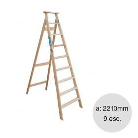 Escalera familiar madera 9 escalones altura 2210mm