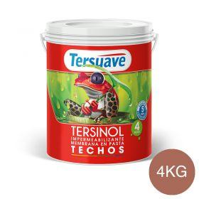 Membrana en pasta impermeabilizante Tersinol techos con poliuretano proteccion UV rojo teja semi mate balde x 4kg