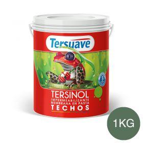 Membrana en pasta impermeabilizante Tersinol techos con poliuretano proteccion UV verde foresta semi mate balde x 1kg