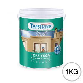 Membrana liquida impermeabilizante acrilica Tersitech techos y muros fibrado con poliuretano blanco semi mate balde x 1kg