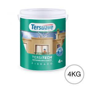 Membrana liquida impermeabilizante acrilica Tersitech techos y muros fibrado con poliuretano blanco semi mate balde x 4kg