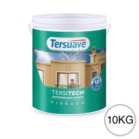 Membrana liquida impermeabilizante acrilica Tersitech techos y muros fibrado con poliuretano blanco semi mate balde x 10kg
