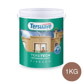 Membrana liquida impermeabilizante acrilica Tersitech techos y muros fibrado con poliuretano rojo teja semi mate balde x 1kg.