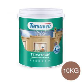 Membrana liquida impermeabilizante acrilica Tersitech techos y muros fibrado con poliuretano rojo teja semi mate balde x 10kg.