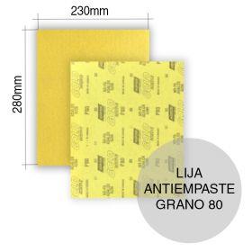 Lija antiempaste en seco A296 grano P80 hoja 230mm x 280mm x u