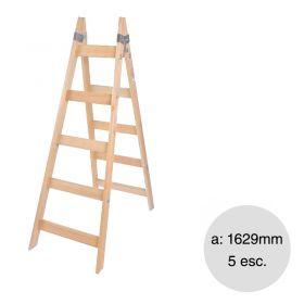 Escalera pintor madera reforzada 5 escalones altura 1620mm